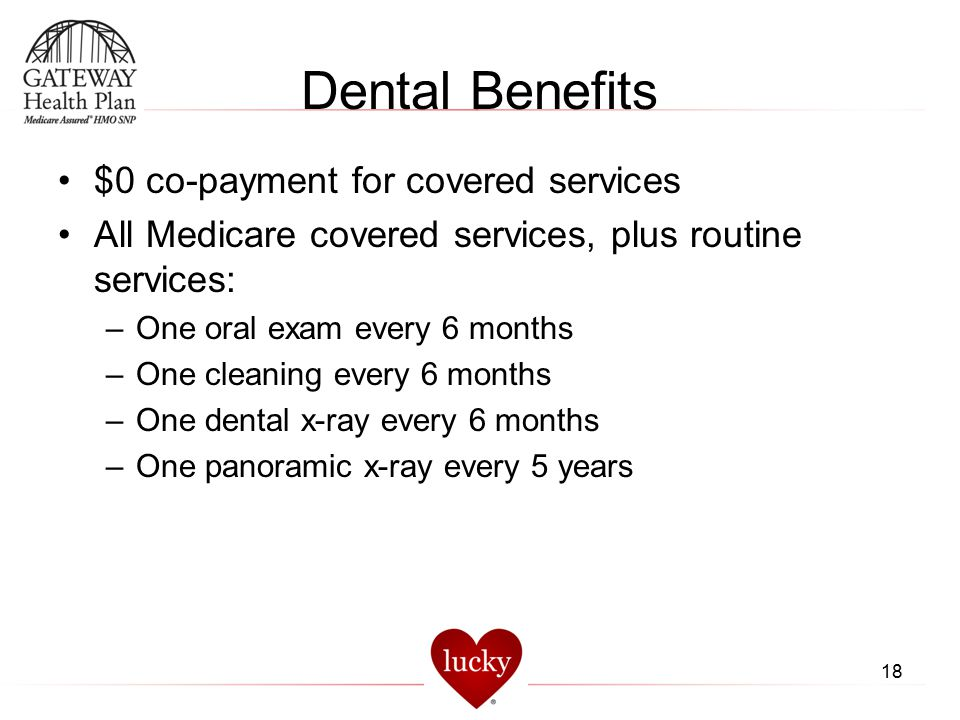 Dental Benefits $0 co-payment for covered services