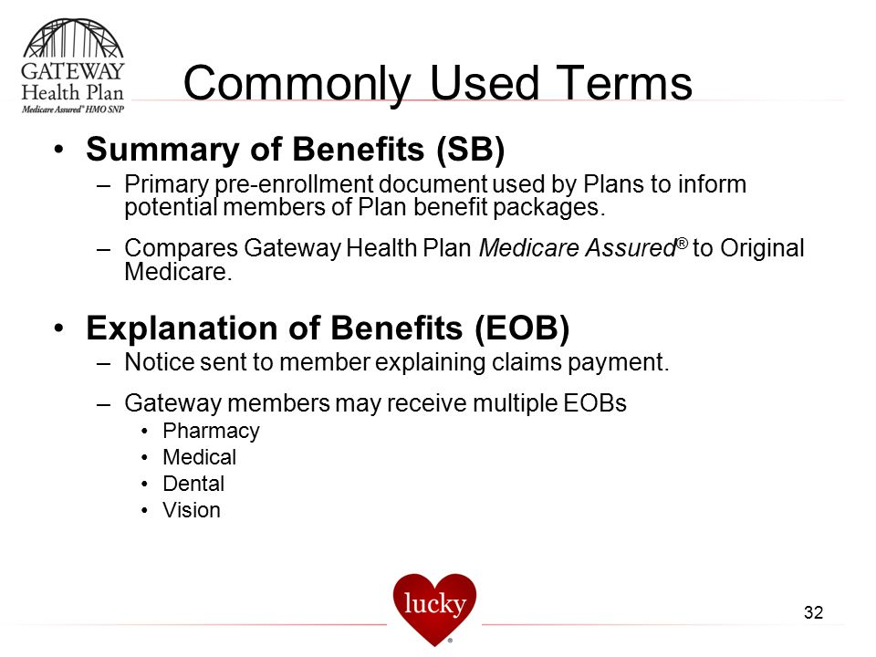 Commonly Used Terms Summary of Benefits (SB)