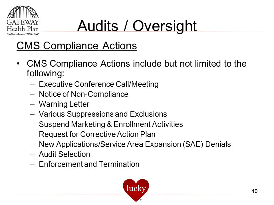 Audits / Oversight CMS Compliance Actions