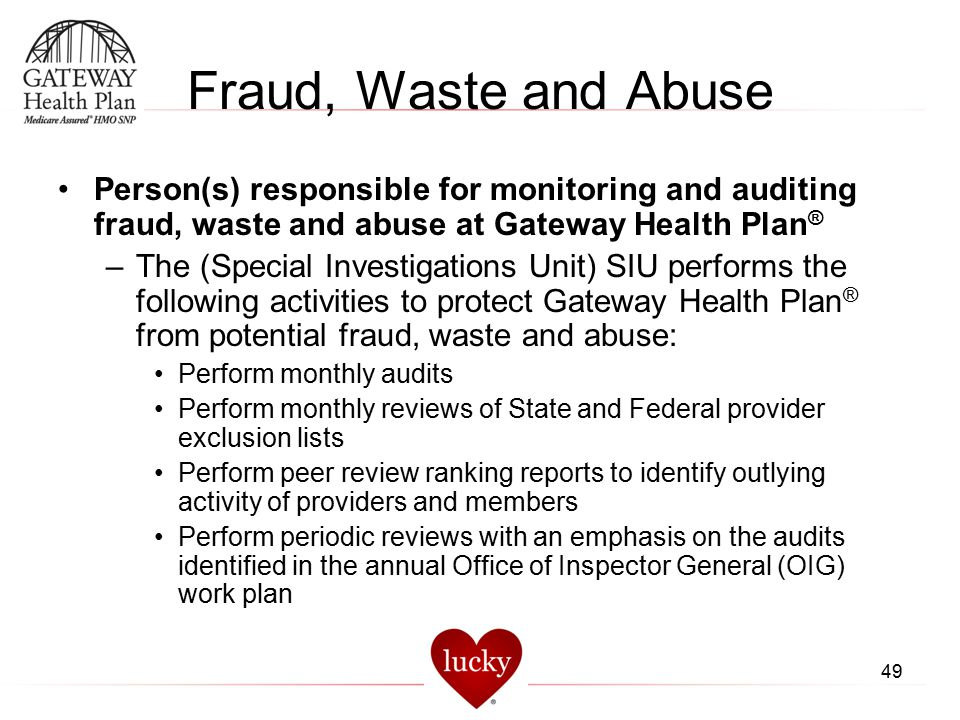 Fraud, Waste and Abuse Person(s) responsible for monitoring and auditing fraud, waste and abuse at Gateway Health Plan®