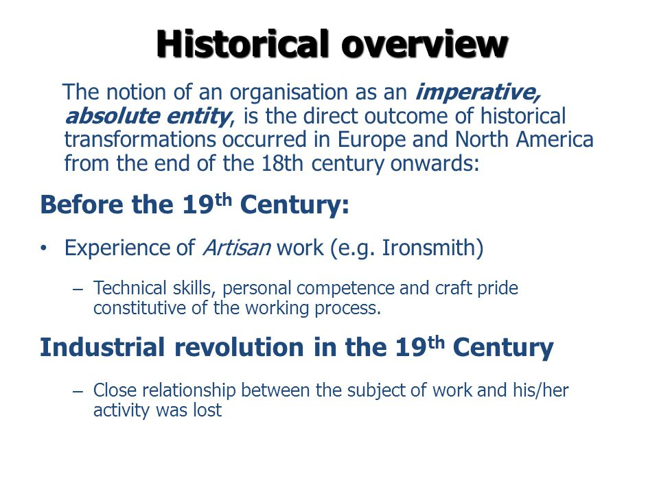 Historical overview Before the 19th Century: