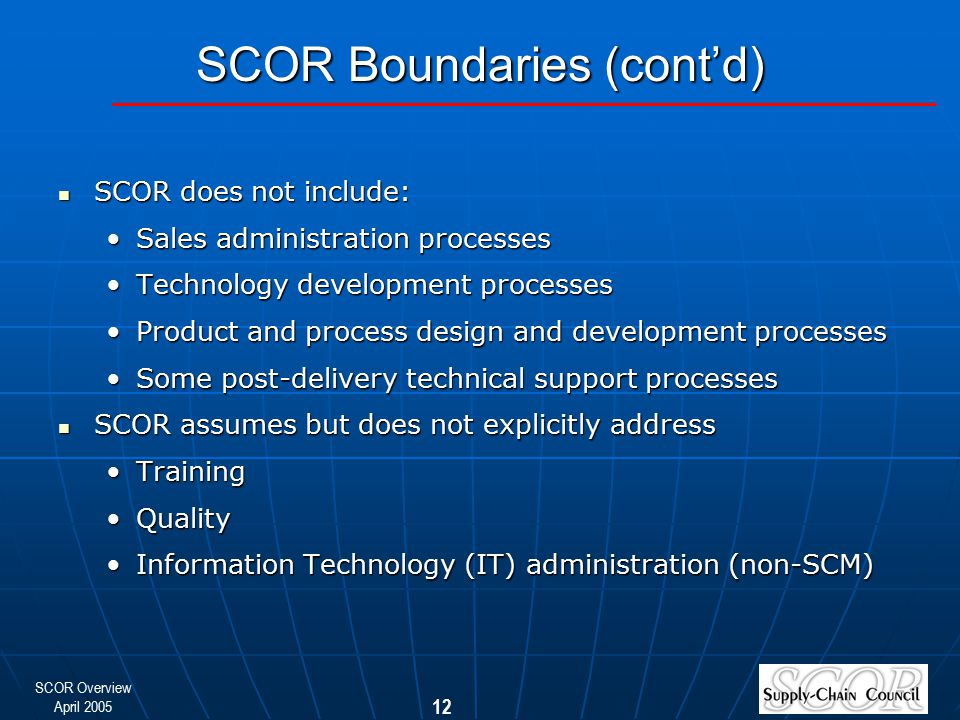 SCOR Boundaries (cont'd)