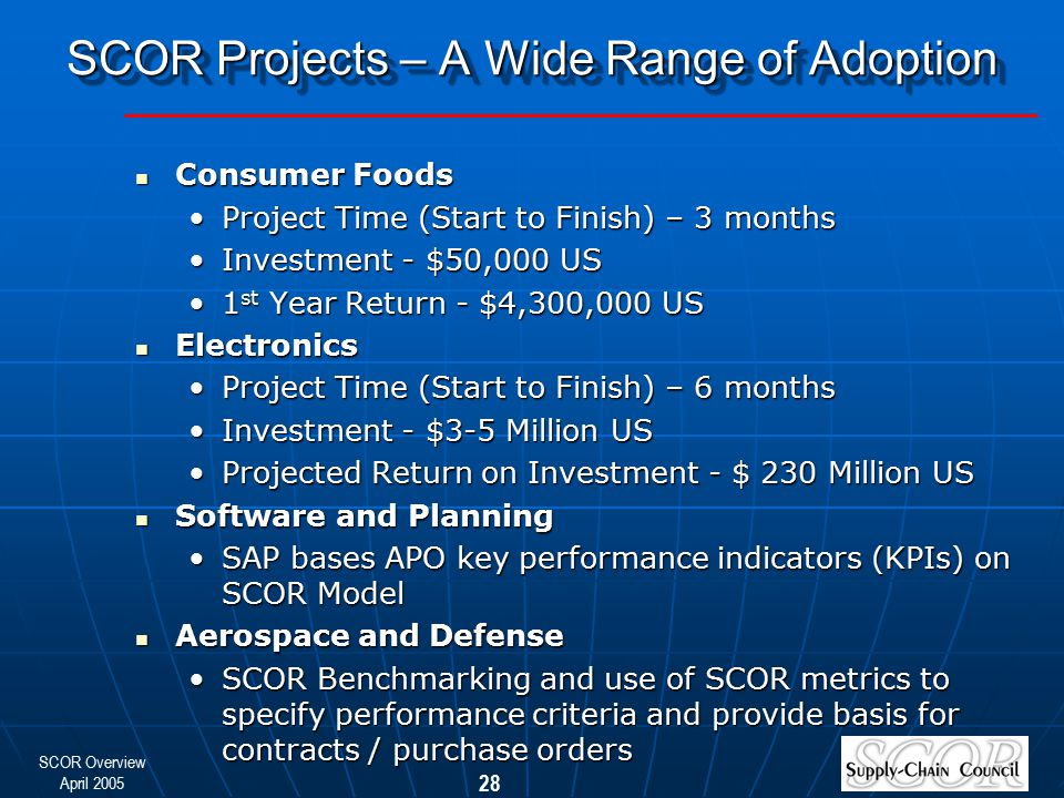 SCOR Projects – A Wide Range of Adoption