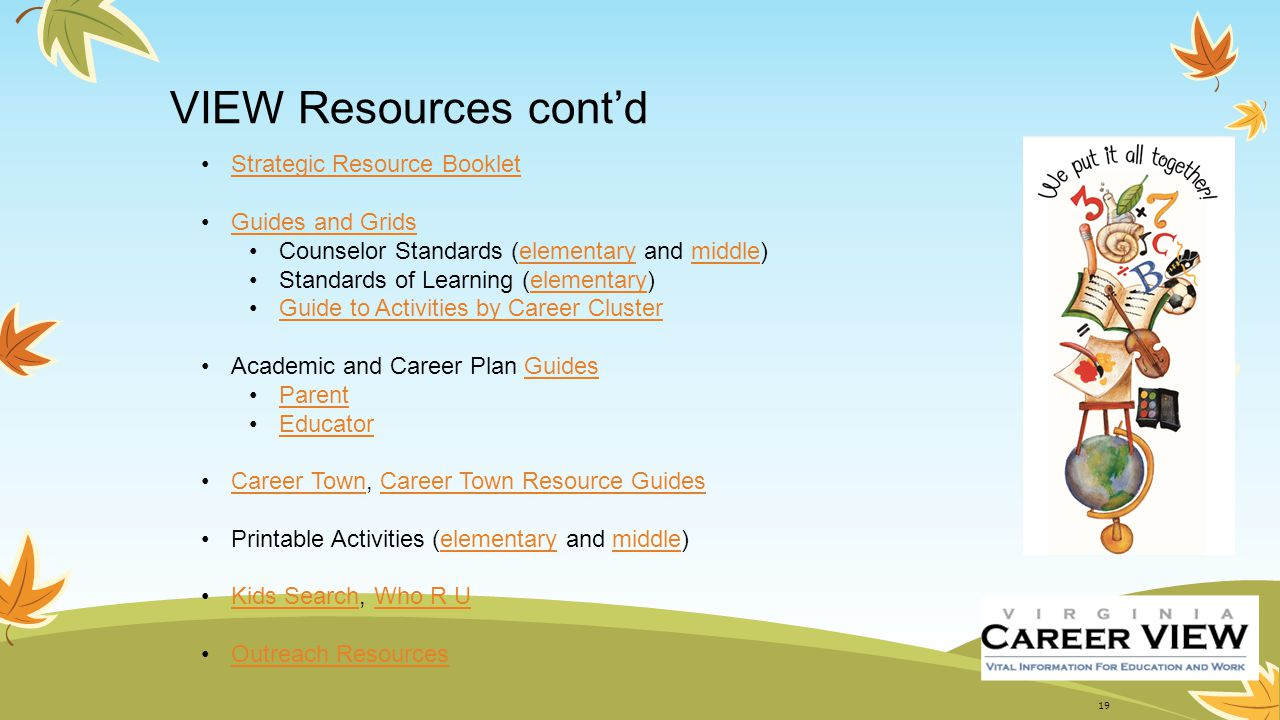 VIEW Resources cont'd Strategic Resource Booklet Guides and Grids