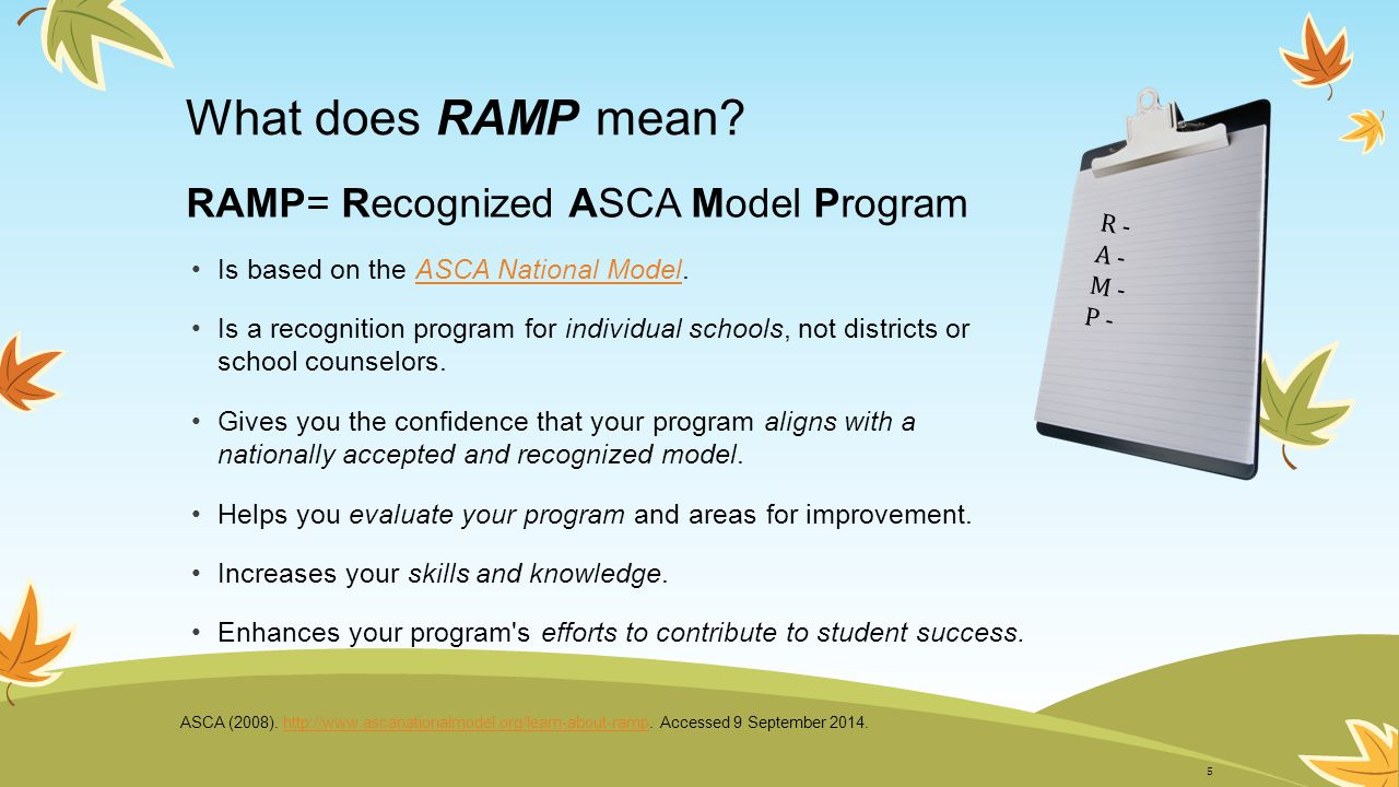 What does RAMP mean RAMP= Recognized ASCA Model Program