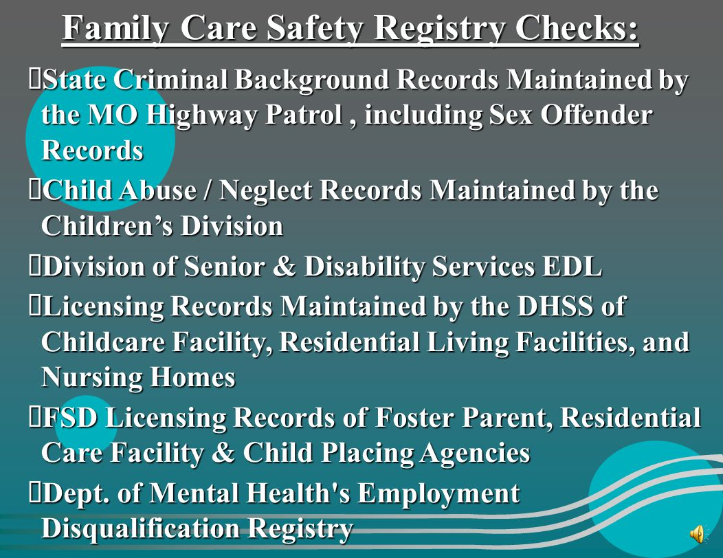 Family Care Safety Registry Checks: