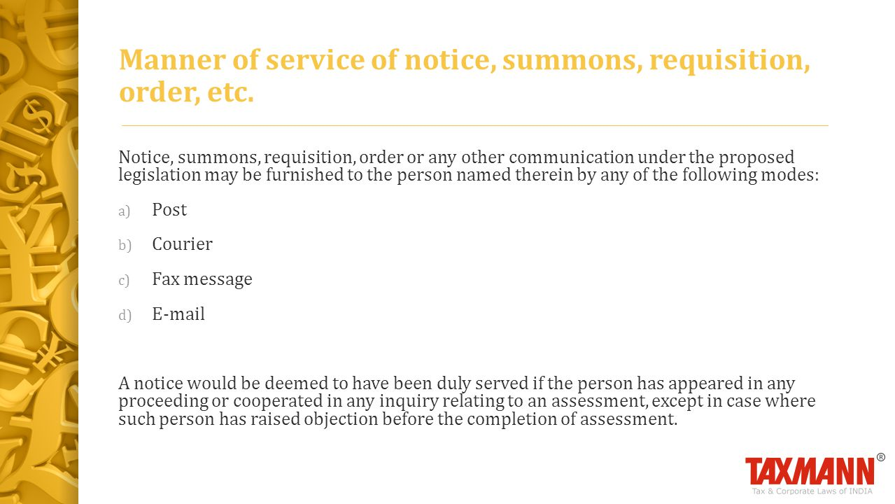 Manner of service of notice, summons, requisition, order, etc.