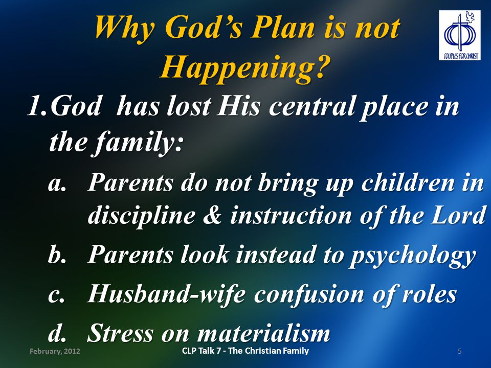 Why God's Plan is not Happening