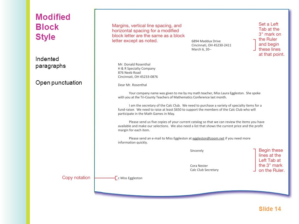 Modified Block Style Indented paragraphs Open punctuation Slide 14
