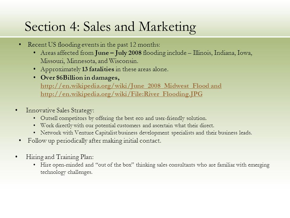 Section 4: Sales and Marketing