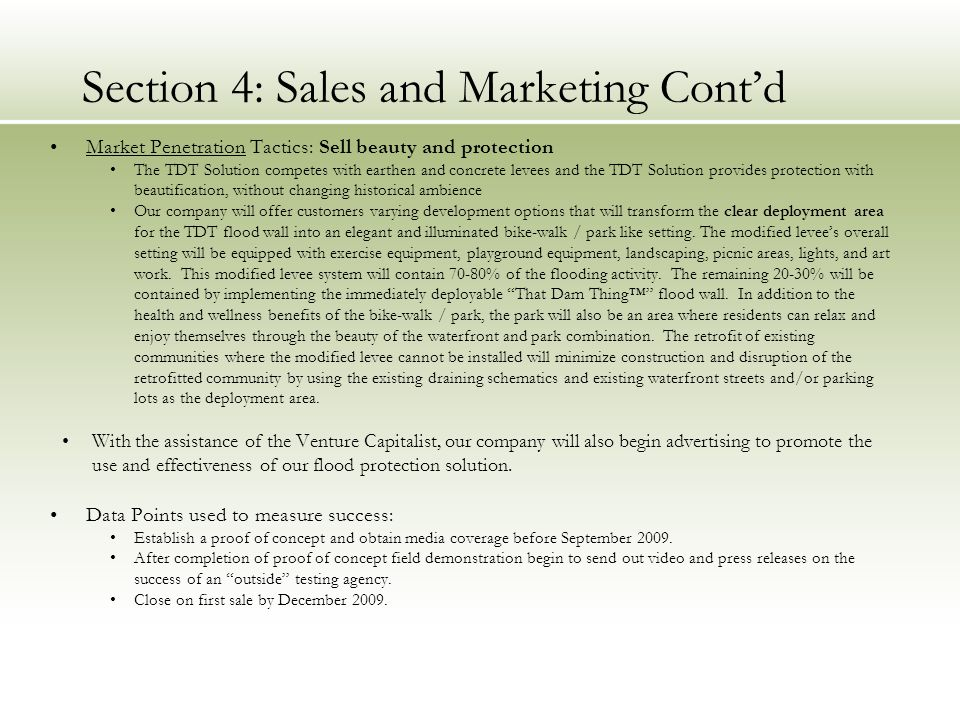 Section 4: Sales and Marketing Cont'd