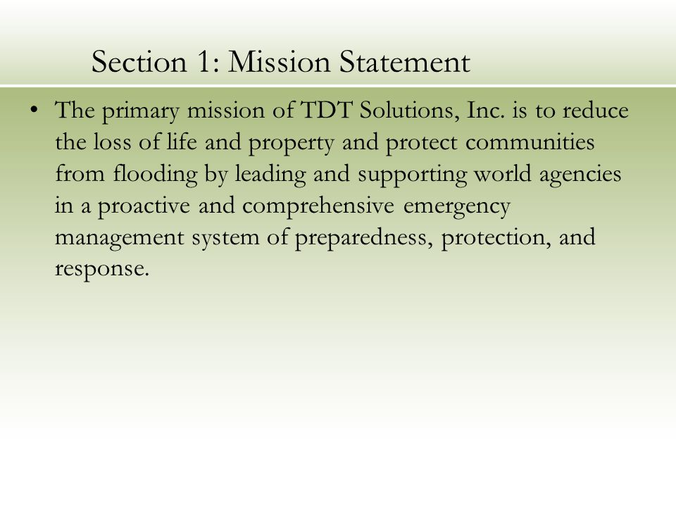 Section 1: Mission Statement