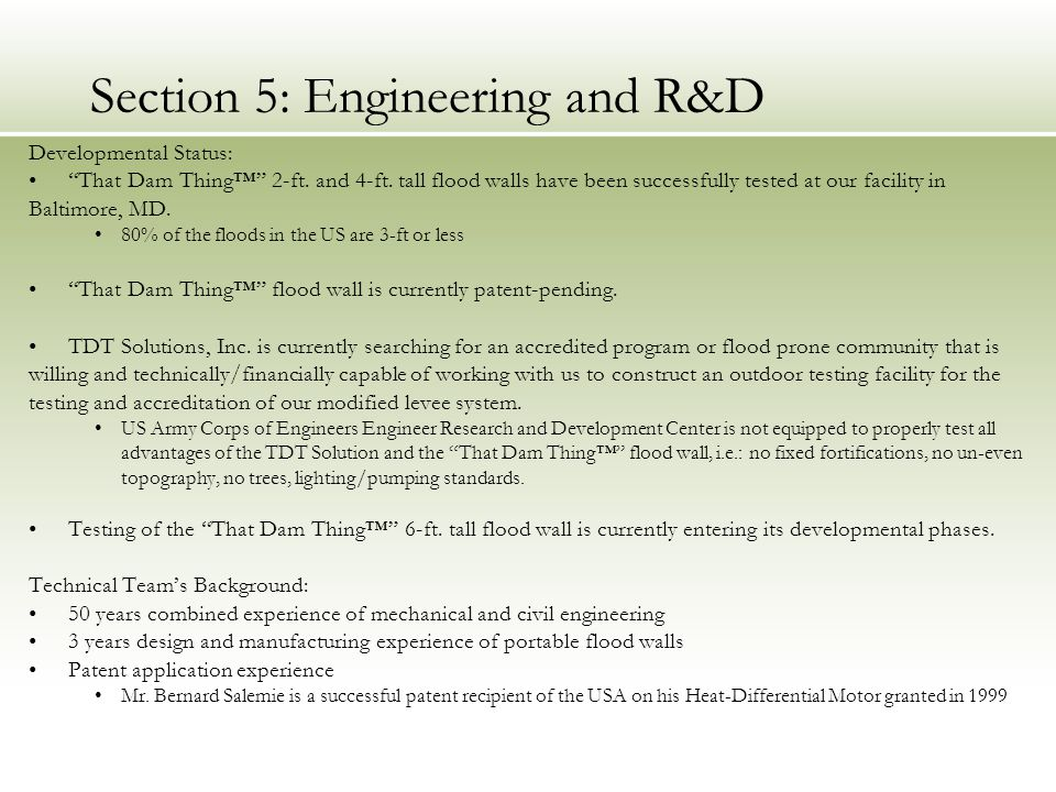 Section 5: Engineering and R&D