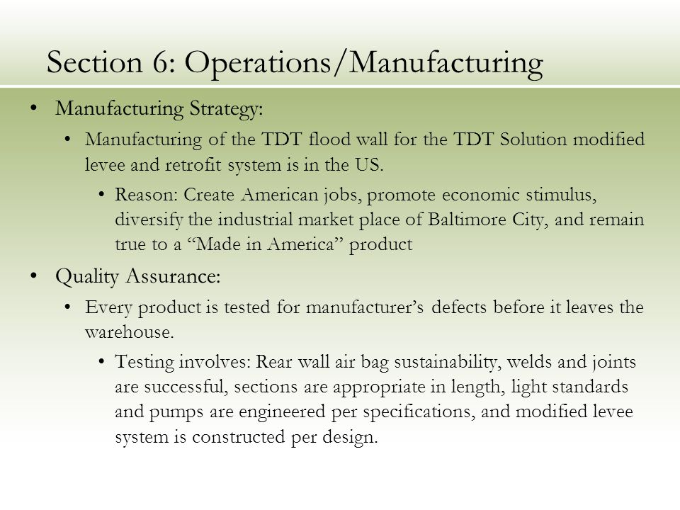 Section 6: Operations/Manufacturing