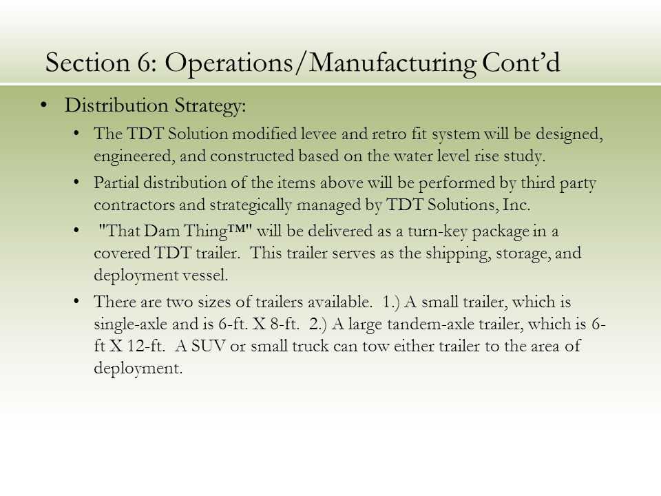 Section 6: Operations/Manufacturing Cont'd
