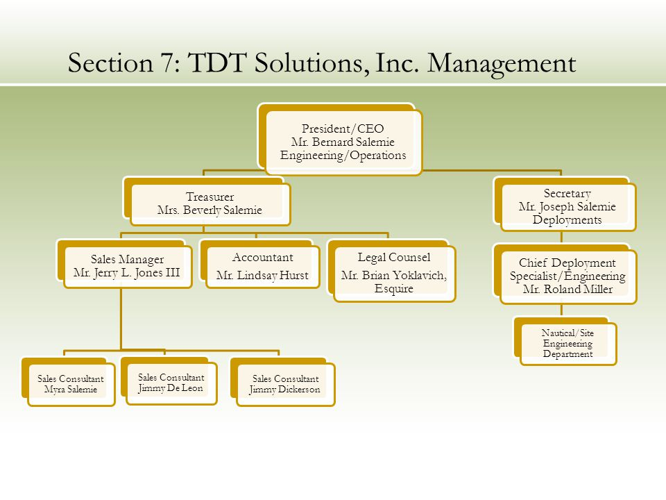 Section 7: TDT Solutions, Inc. Management