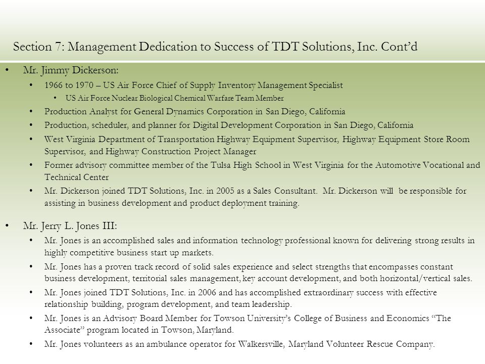 Section 7: Management Dedication to Success of TDT Solutions, Inc