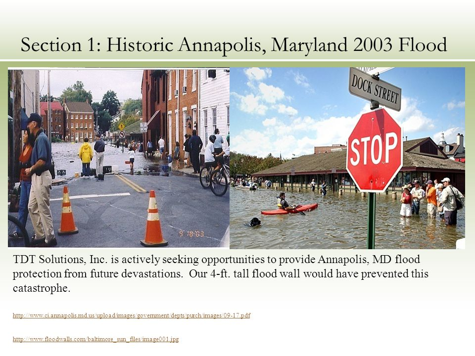 Section 1: Historic Annapolis, Maryland 2003 Flood