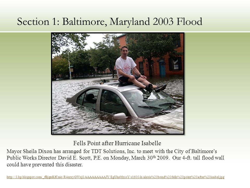 Section 1: Baltimore, Maryland 2003 Flood