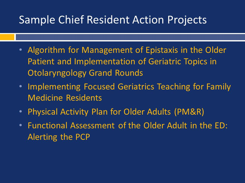 Sample Chief Resident Action Projects