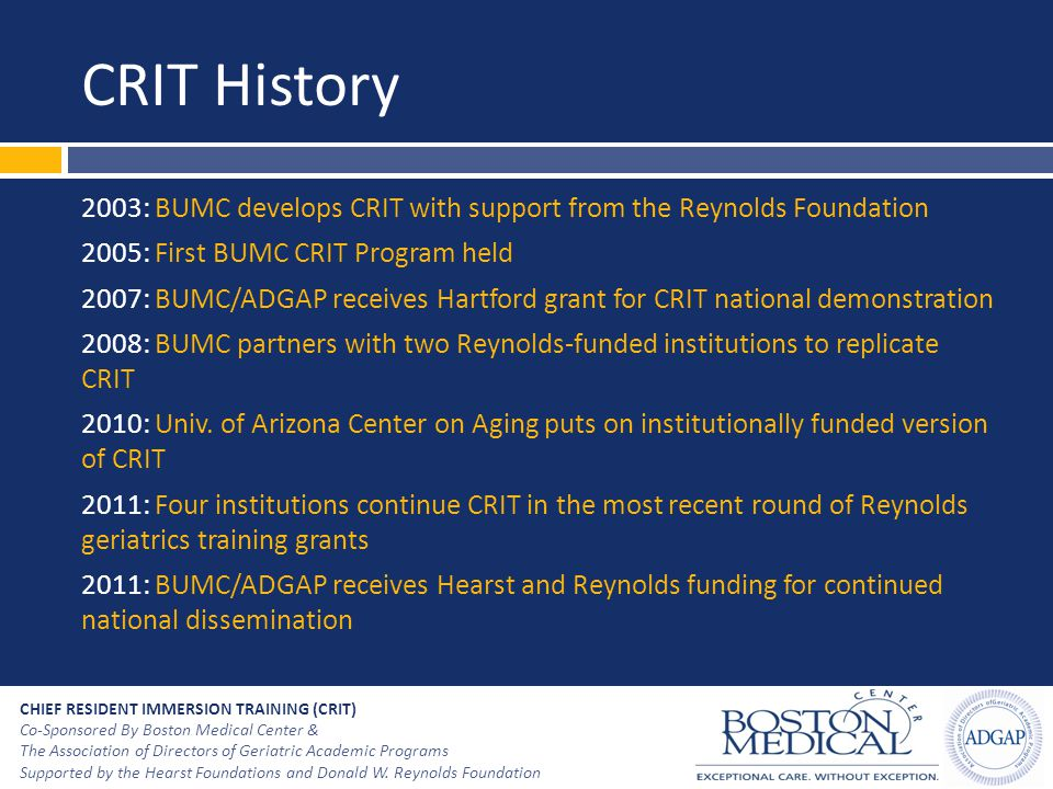 CRIT History 2003: BUMC develops CRIT with support from the Reynolds Foundation. 2005: First BUMC CRIT Program held.