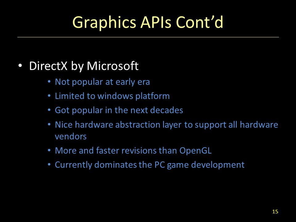Graphics APIs Cont'd DirectX by Microsoft Not popular at early era
