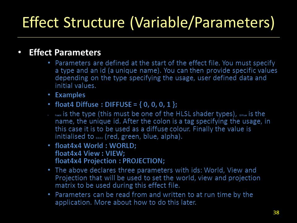 Effect Structure (Variable/Parameters)