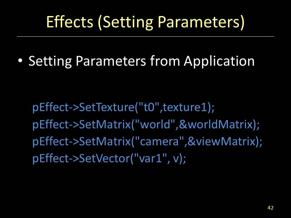 Effects (Setting Parameters)