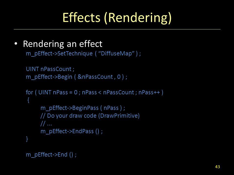 Effects (Rendering) Rendering an effect