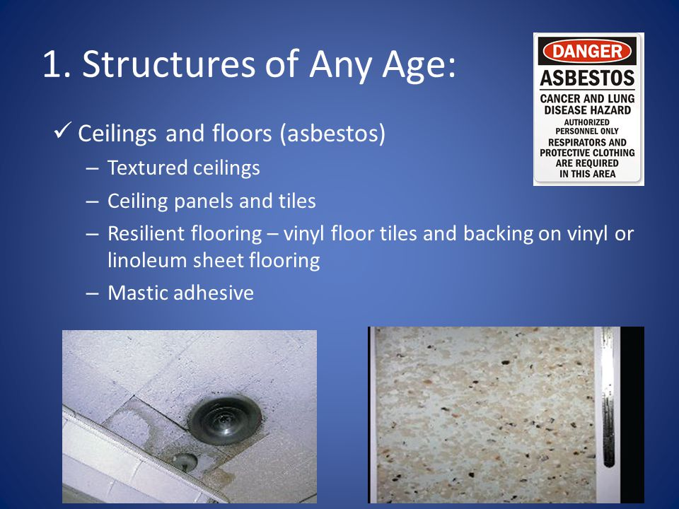 1. Structures of Any Age: Ceilings and floors (asbestos)