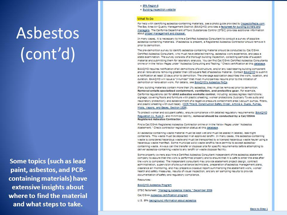 Asbestos (cont'd)