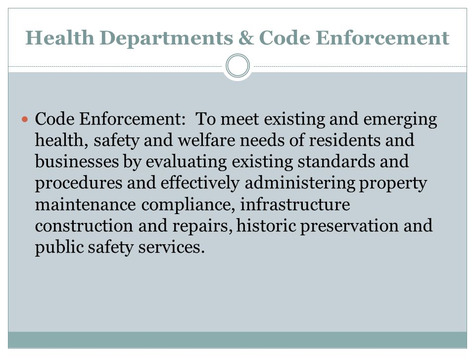 Health Departments & Code Enforcement