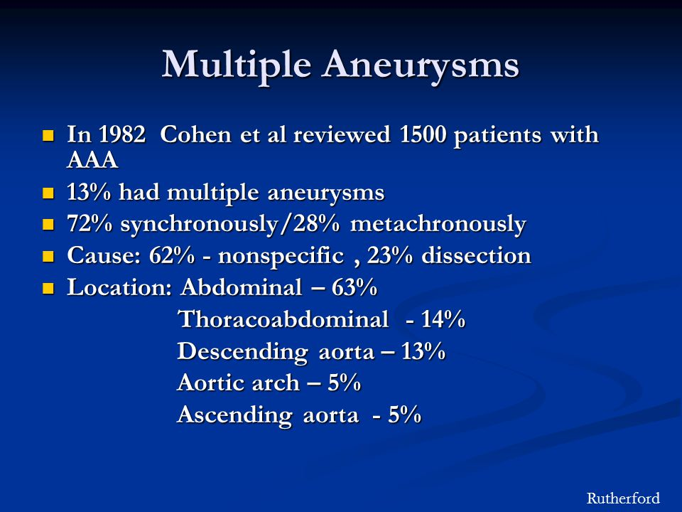 Multiple Aneurysms In 1982 Cohen et al reviewed 1500 patients with AAA