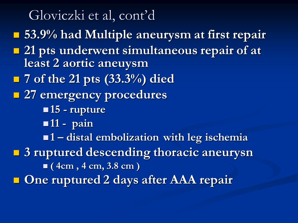 Gloviczki et al, cont'd 53.9% had Multiple aneurysm at first repair