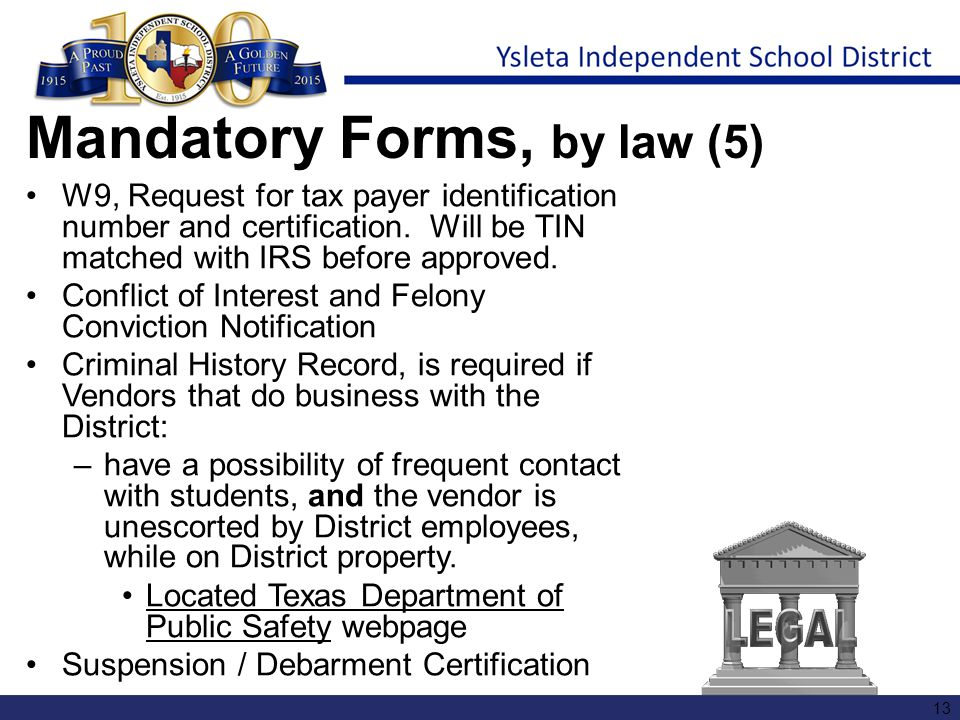 Mandatory Forms, by law (5)