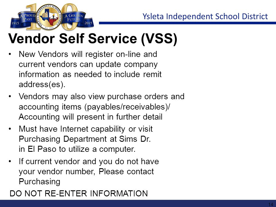 Vendor Self Service (VSS)