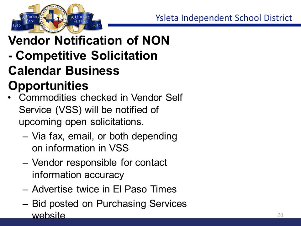 Vendor Notification of NON - Competitive Solicitation Calendar Business Opportunities