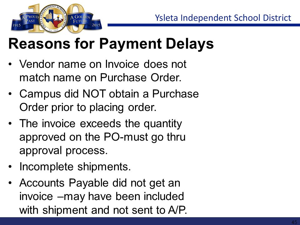 Reasons for Payment Delays
