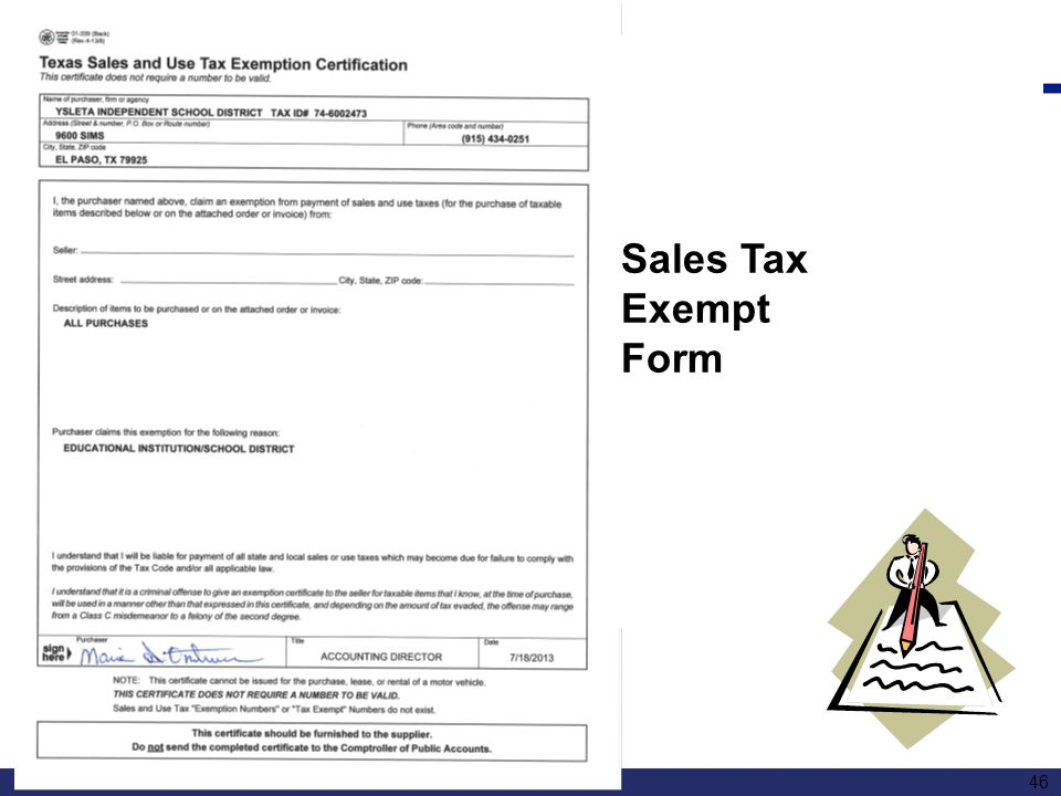 Sales Tax Exempt Form