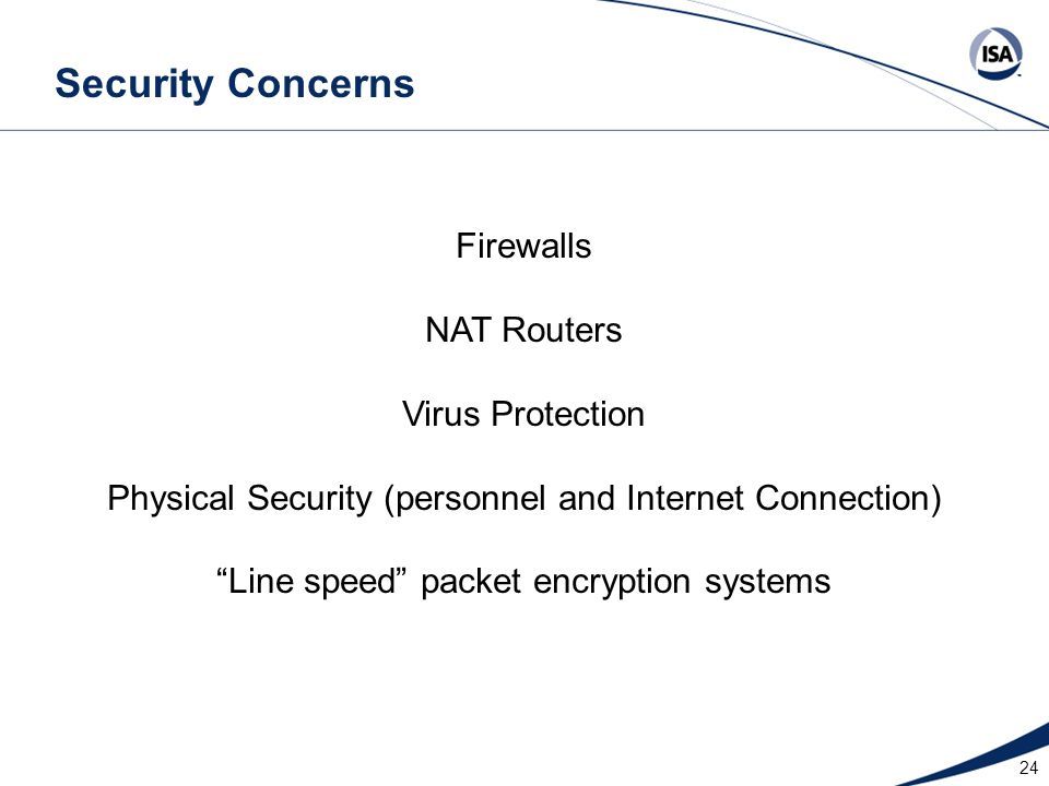 Security Concerns Firewalls NAT Routers Virus Protection