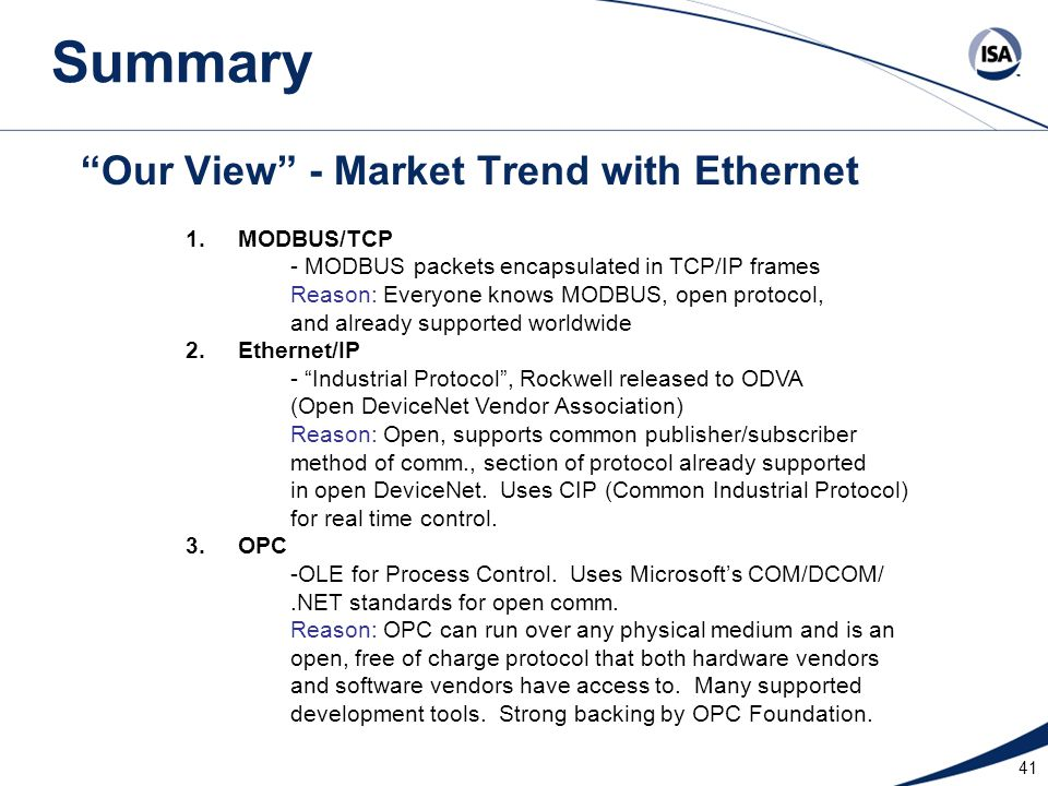 Our View - Market Trend with Ethernet