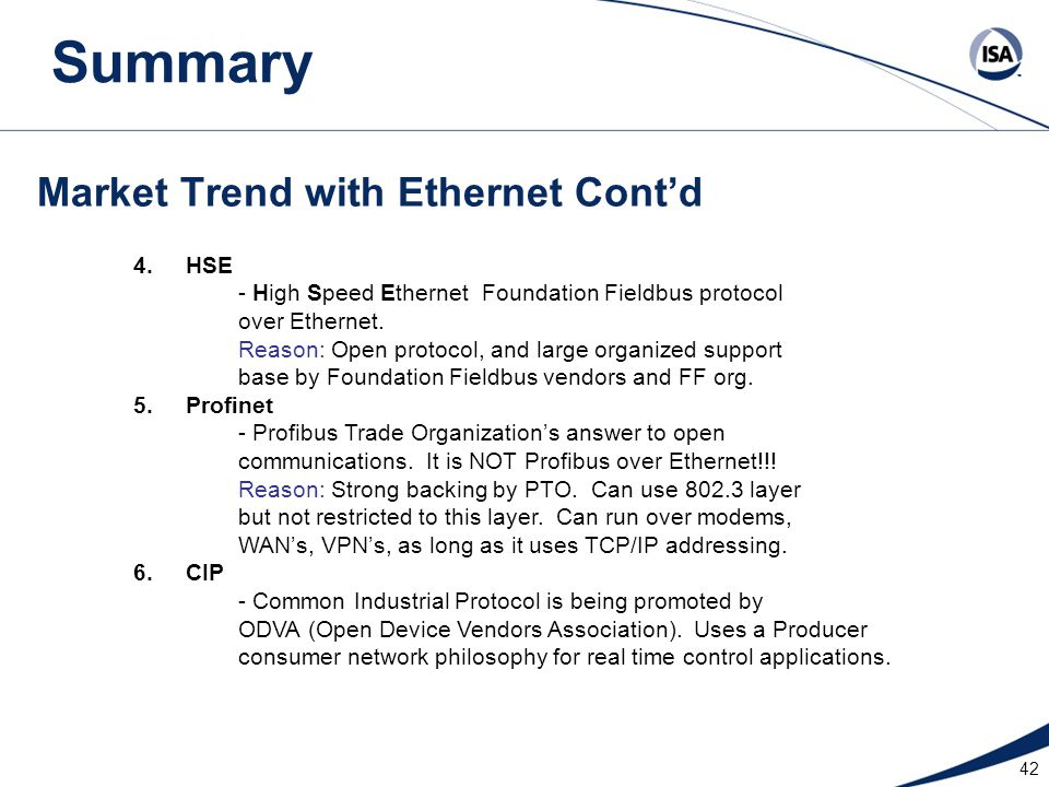 Market Trend with Ethernet Cont'd