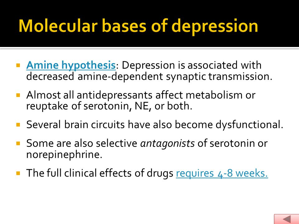 Molecular bases of depression