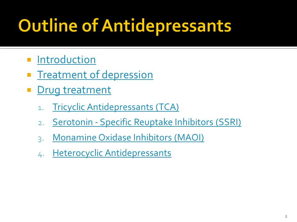 Outline of Antidepressants