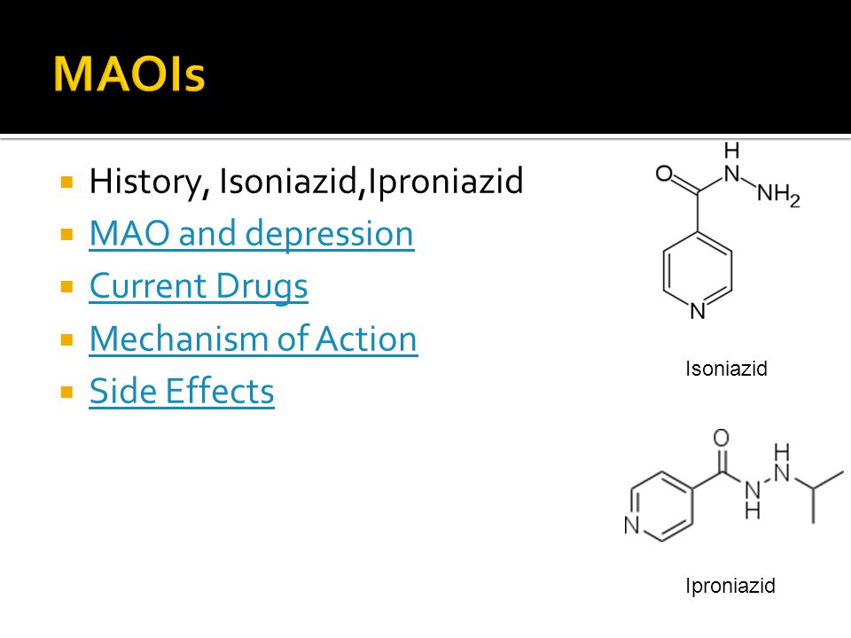 MAOIs History, Isoniazid,Iproniazid MAO and depression Current Drugs