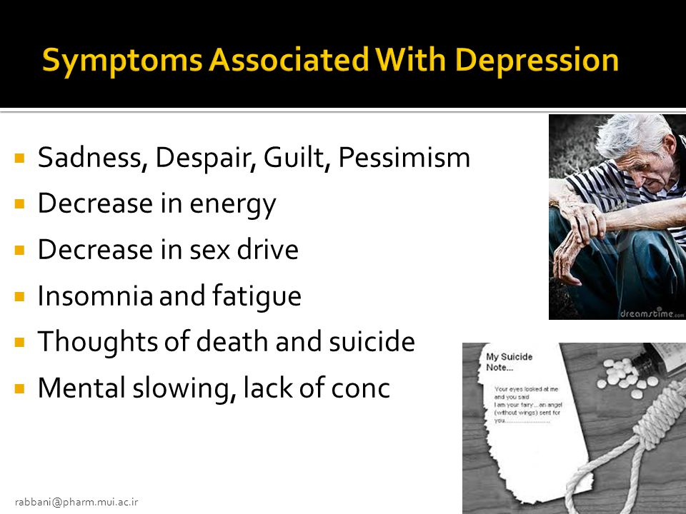 Symptoms Associated With Depression