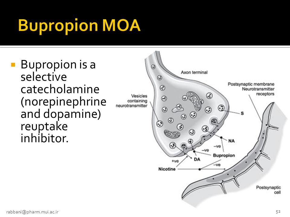 Bupropion MOA Bupropion is a selective catecholamine (norepinephrine and dopamine) reuptake inhibitor.