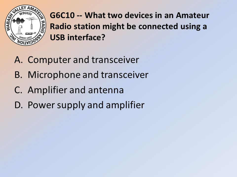 G6C10 -- What two devices in an Amateur Radio station might be connected using a USB interface
