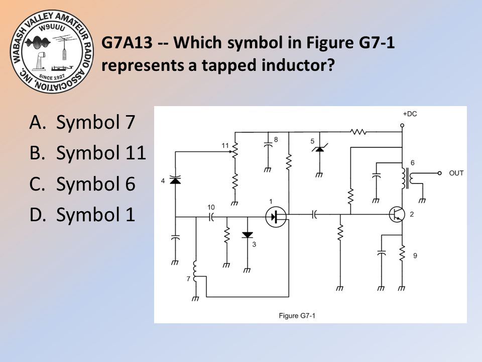 G7A13 -- Which symbol in Figure G7-1 represents a tapped inductor