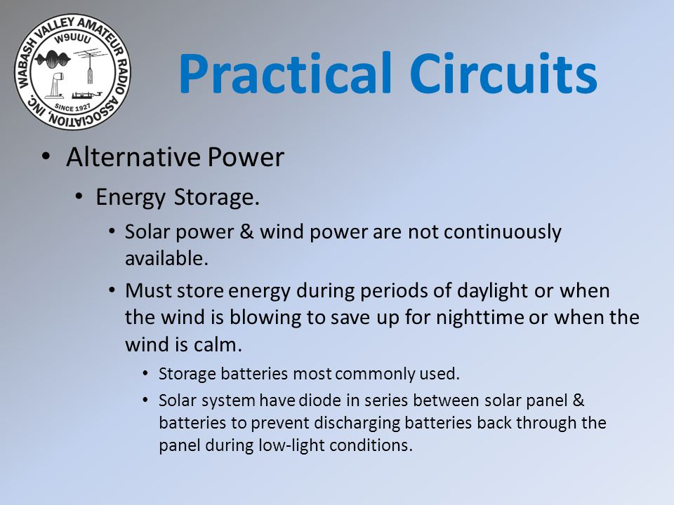 Practical Circuits Alternative Power Energy Storage.